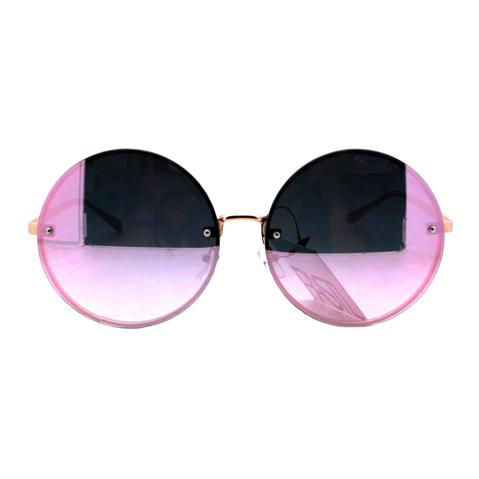 PASTL Super Oversized Round Sunglasses Womens Pink Mirror Lens UV 400 image 9