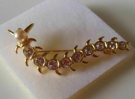 Signed Lia Gold-tone Clear Rhinestone & Faux Pearl Centipede Brooch - $18.80