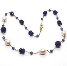 Halskette Silber 925, Gelb, Lapislazuli Blau Disco und Kugel, Perlen, 45 CM - $199.10
