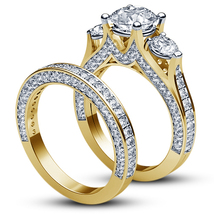 Three Stone Bridal Ring Set Round Cut Diamond Pure 925 Silver Yellow Gol... - $91.88