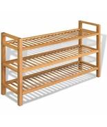 vidaXL Solid Oak 3 Tier Shoe Rack Slated Brown Wood Footwear Storage Uni... - $89.99