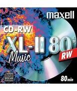 10 x Maxell Blank CD-RW XL-II 80 Audio Disc (4x 80min 700MB) Music CD Re... - $21.75