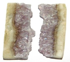 Amethyst Slice Natural Loose Gemstone Cabochon Lot Purple 80Cts. 2Pcs 33186 - $10.39