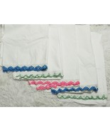 Vintage Lot of 5 Pillowcases Crocheted Scalloped Trim/Edge Blue/Green/Pink - $48.51