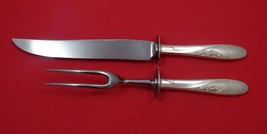 Rose Spray by Easterling Sterling Silver Steak Carving Set 2pc HHWS - $103.55