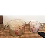 2 Vintage Pyrex Measuring 1 & 4 Cup Red Lettering Open Handle Glass Metr... - $22.76