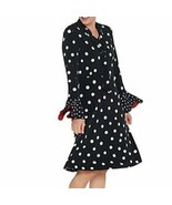 Susan Graver X-Large Polka Dot Liquid Knit Dress with Tie Black XL - $25.00