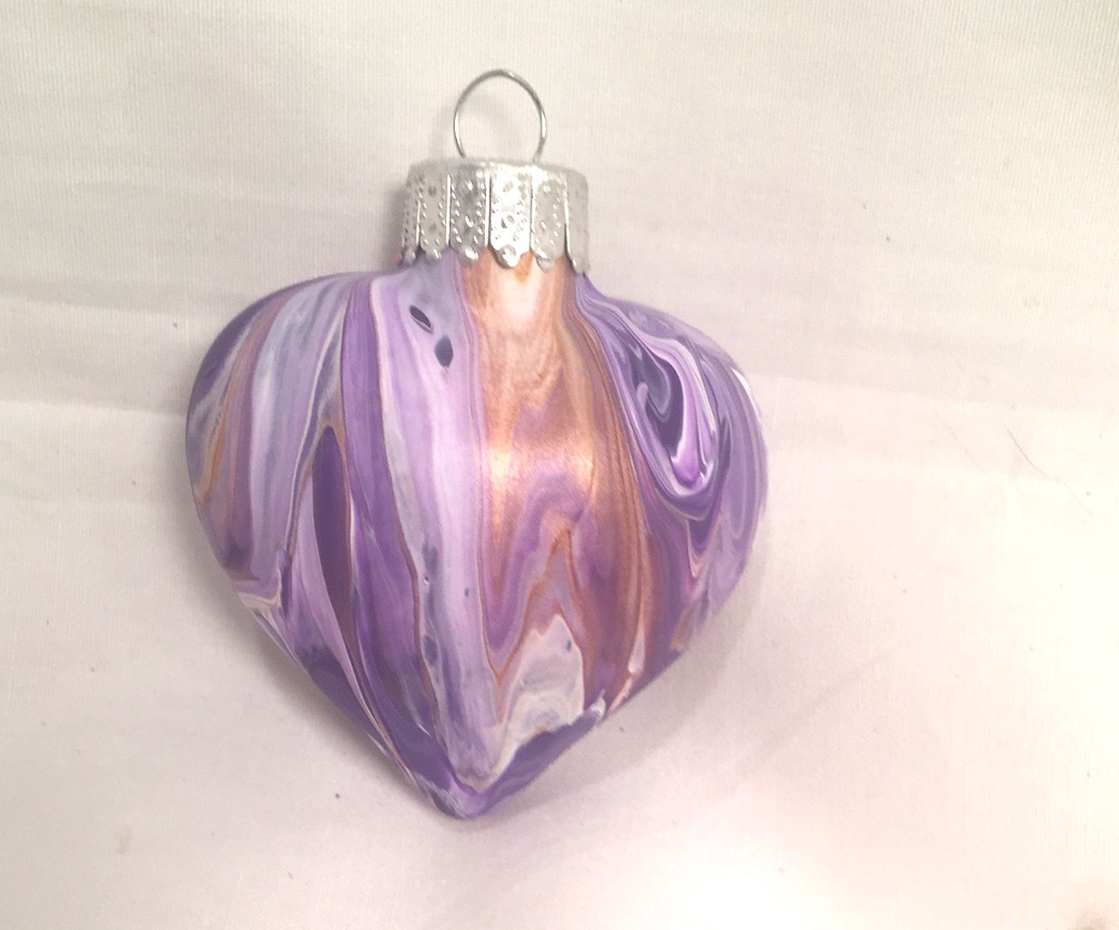 Purple Gold & White Acrylic Pour Swirl Painted Glass Heart Ornament Ribbon Top