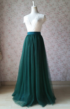 DARK GREEN High Waist Tulle Maxi Skirt Green Wedding Bridesmaid Tulle Maxi Skirt image 5