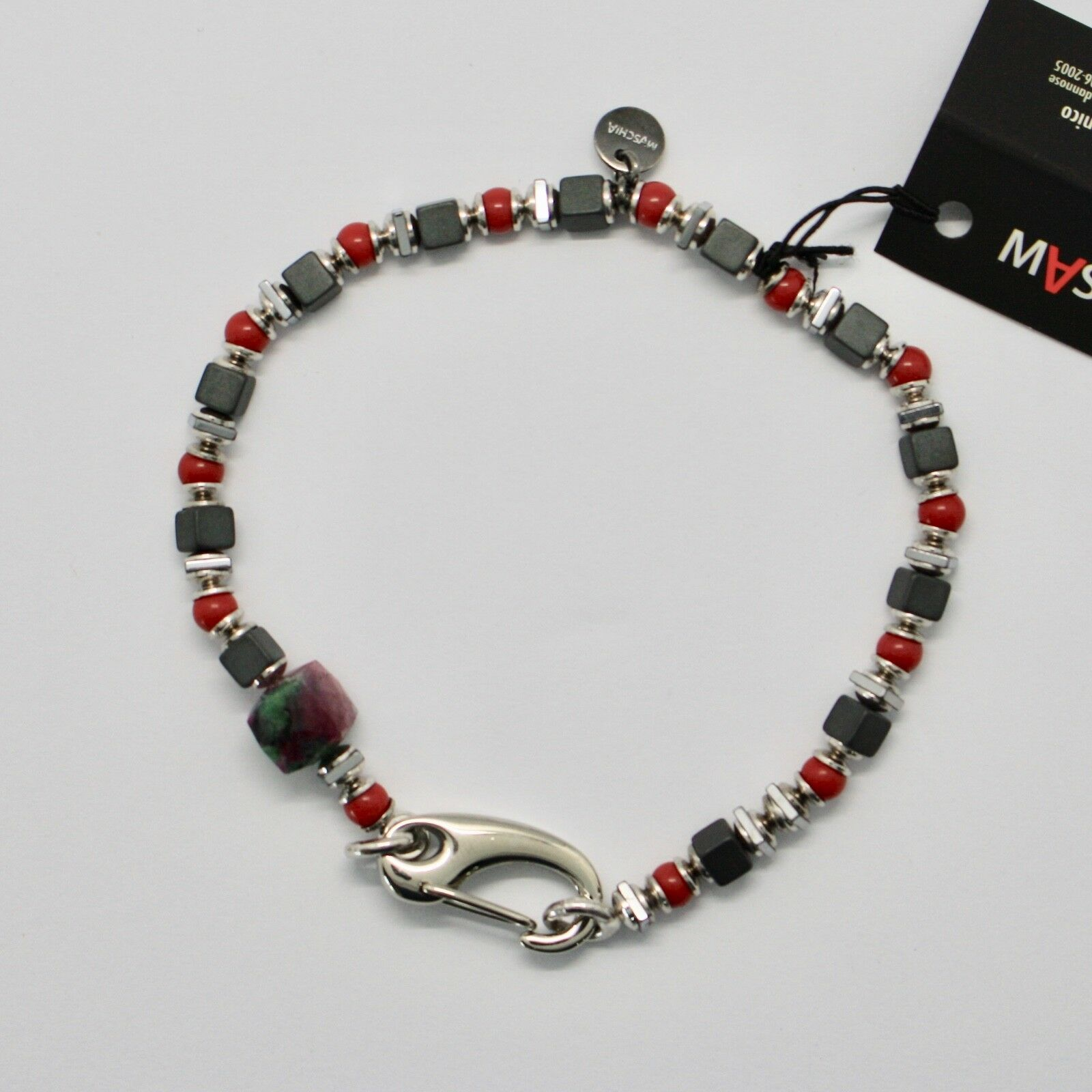 Silver 925 Bracelet Ruby Zoisite Coral Bpan-13 Made in Italy by Maschia image 3
