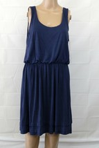 Lush Sz Large rayon blouson dress blue - $30.00
