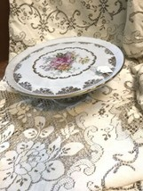Couleuvre French Limoges Hand Painted Rose Pedestal Cake Plate - $143.19