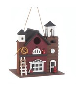 FIRE STATION BIRDHOUSE Wood Firehouse Accents - $21.97