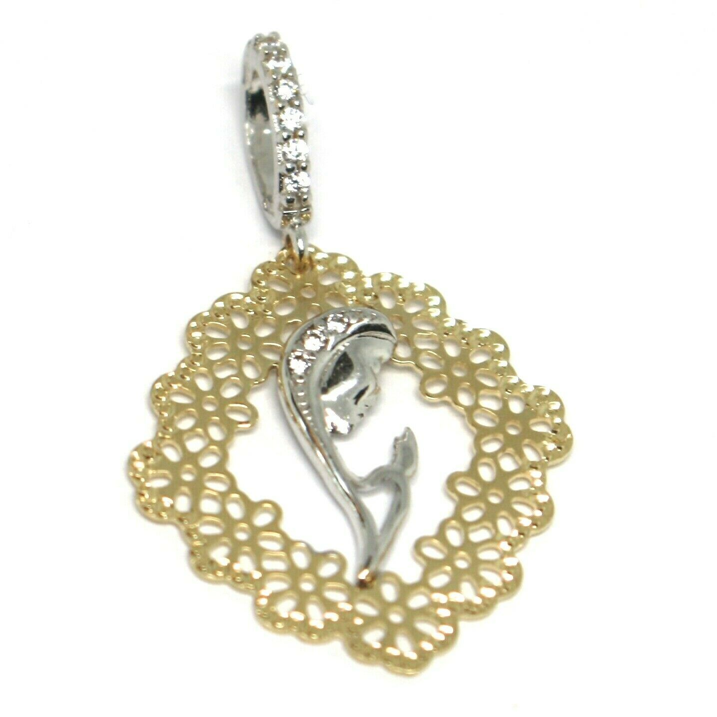 Pendant Medal, Yellow Gold White 750 18K, Virgo Mary Jane, with Frame, Flowers