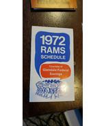 1972 GLENDALE FEDERAL SAVINGS LOS ANGELES RAMS NFL POCKET SCHEDULE SKED ... - $14.99