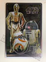 "Star Wars C-3PO R2-D2 BB-8 Wall Metal Sign plate Home decor 11.75"" x 7.8"""