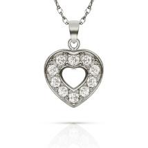 0.20ct Brilliant Round Created Diamond Open Heart Pendant 14k White Gold... - $57.69+