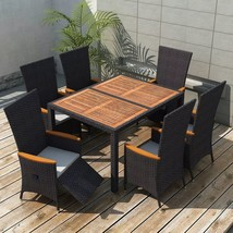 vidaXL Outdoor Dining Set 13 Piece Poly Rattan Wicker Black Garden Table... - $566.99