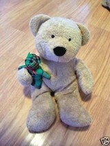 Ty Pluffies Brown Bear Holding Green Plaid Teddy 2005 Beary Merry - $6.42