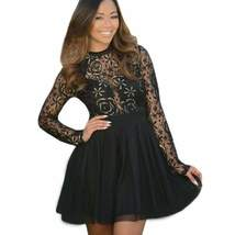 Fashion Sleeve Lace High Waist Women Skater Dress - $27.02