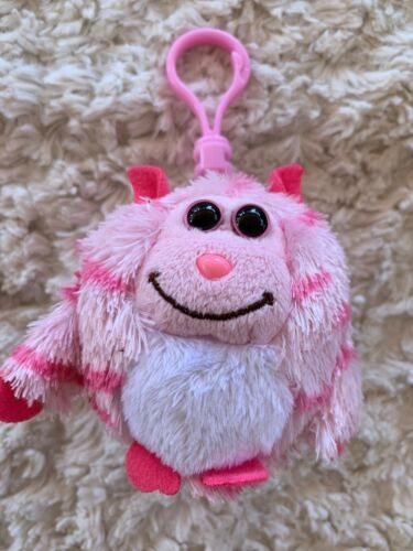 Primary image for Ty Monstaz Beanie Boo Pink White ROXY Plush Bakcpack Keychain Clip Toy