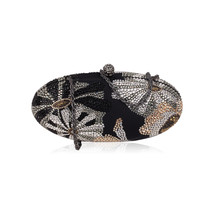 Authentic RODO Black Satin SMALL Crystal BOX CLUTCH Evening Bag - $277.20