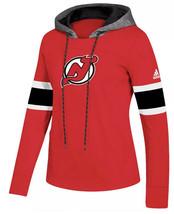 Adidas New Jersey Devils Red NHL Hoodie Size M Platnm Crewdie Women's CZ... - $58.70