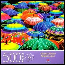 500 Piece Jigsaw Puzzle Cardinal 14 in x 11 in , Colorful Rain  Umbrellas - $6.60