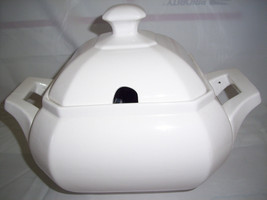 white ceramic soup tureen with lid octogonal stamped HC on bottom - $11.59