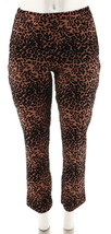 Women with Control Leopard Flocked Ponte Knit Slim Leg Pants Cocoa S NEW A284100 - $30.67