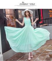 PF253 sexy deep v sleeveless chiffon swing dress  size s-xl, light green - $18.80