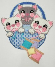 Plastic Canvas CATS in a BASKET with THREAD Wall Hanging, Handmade, New - $21.99