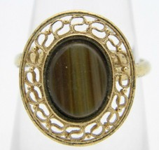 VTG Sarah Coventry SC Gold Tone Tiger's Eye Ring Size 5.25 - $19.80
