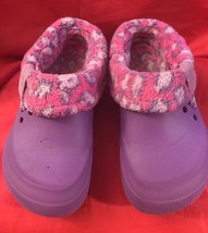 Crocs Junior Purple Fur Lined Girl's Clogs Size J 2 - $9.50