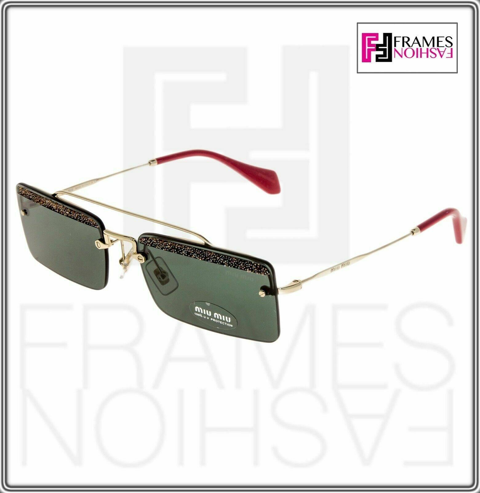 Miu Miu Rectangle Sunglasses MU59TS KI63O1 Pale Gold Frame W/ Green Lens
