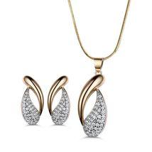 Women's Royal Jewelry Set Austrian Crystal Gold Stud Earrings + Pendant Necklace image 6