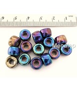 25 5 x 9 mm Czech Glass Crow Beads: Iris - Blue - $1.85