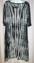 NEW WOMENS PLUS SIZE 3X TIE DYE DRESS WITH LARGE KEYHOLE BACK AND SHORT ... - $19.34