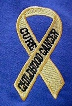 Childhood Cancer Sweatshirt Awareness 2XL Ribbon Royal Crew Neck Unisex New - $31.01