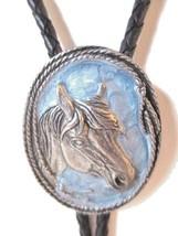HORSE BOLO TIE WESTERN ROPE BLUE ENAMEL SIGNED 1997 SISKIYOU BUCKLE COMPANY - $19.00
