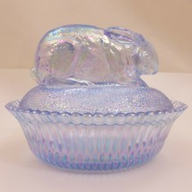 NOS Carnival SKY BLUE Glass RABBIT Bunny Nest JEWELRY Box BOWL Candy DIS... - $37.77