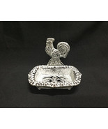 Cast Iron Antiqued White Rooster Soap Dish Country Decor - $13.85