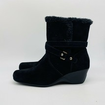 Anne Klein In Sport Women's Black Solid Edenia Zipper Side Wedge Boots Size 9.5 - $19.80