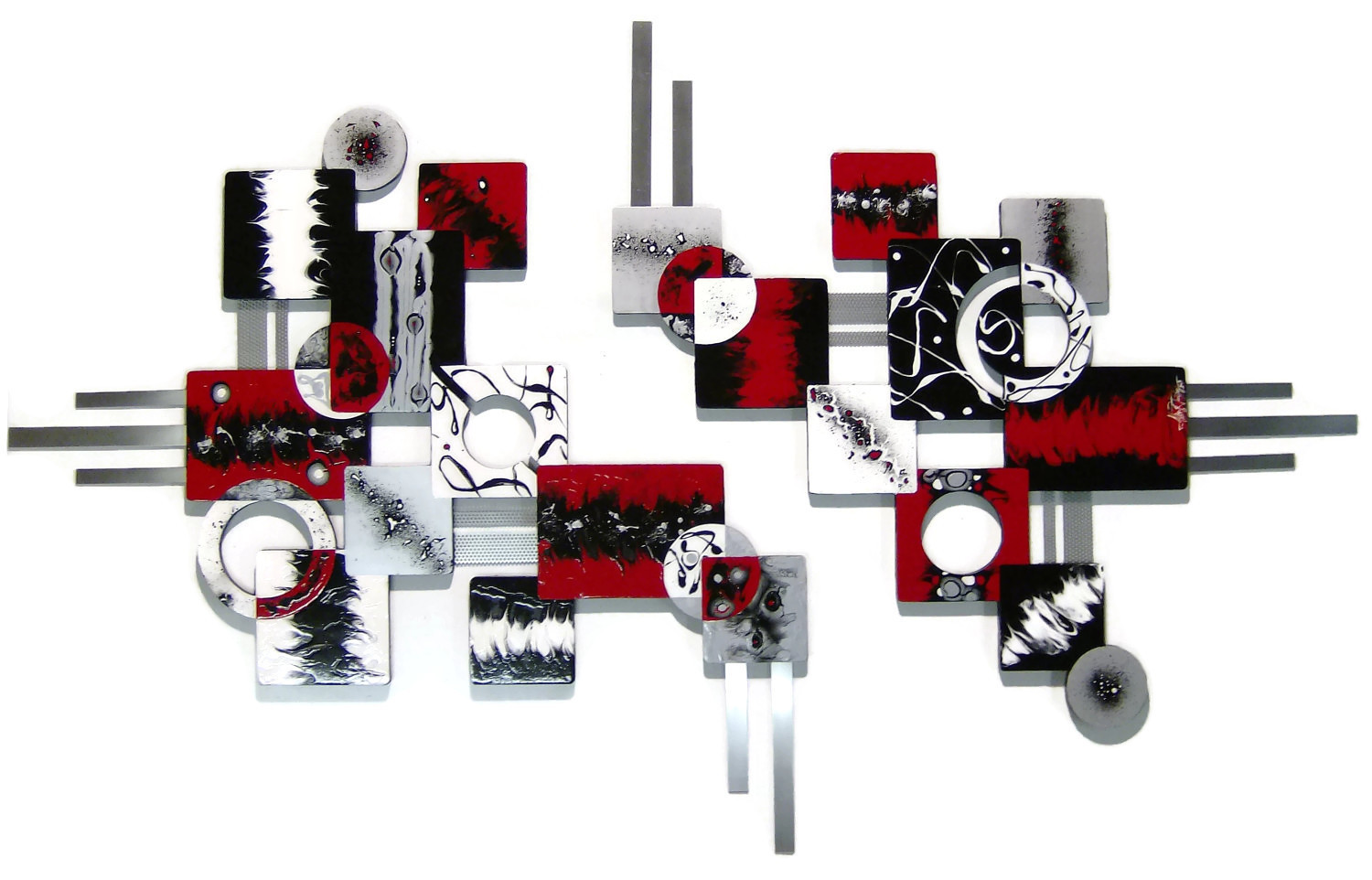 Primary image for HUGE 2pc Gorgeous Red & Black Geometric Wood & Metal Wall Sculpture 80x50 inches