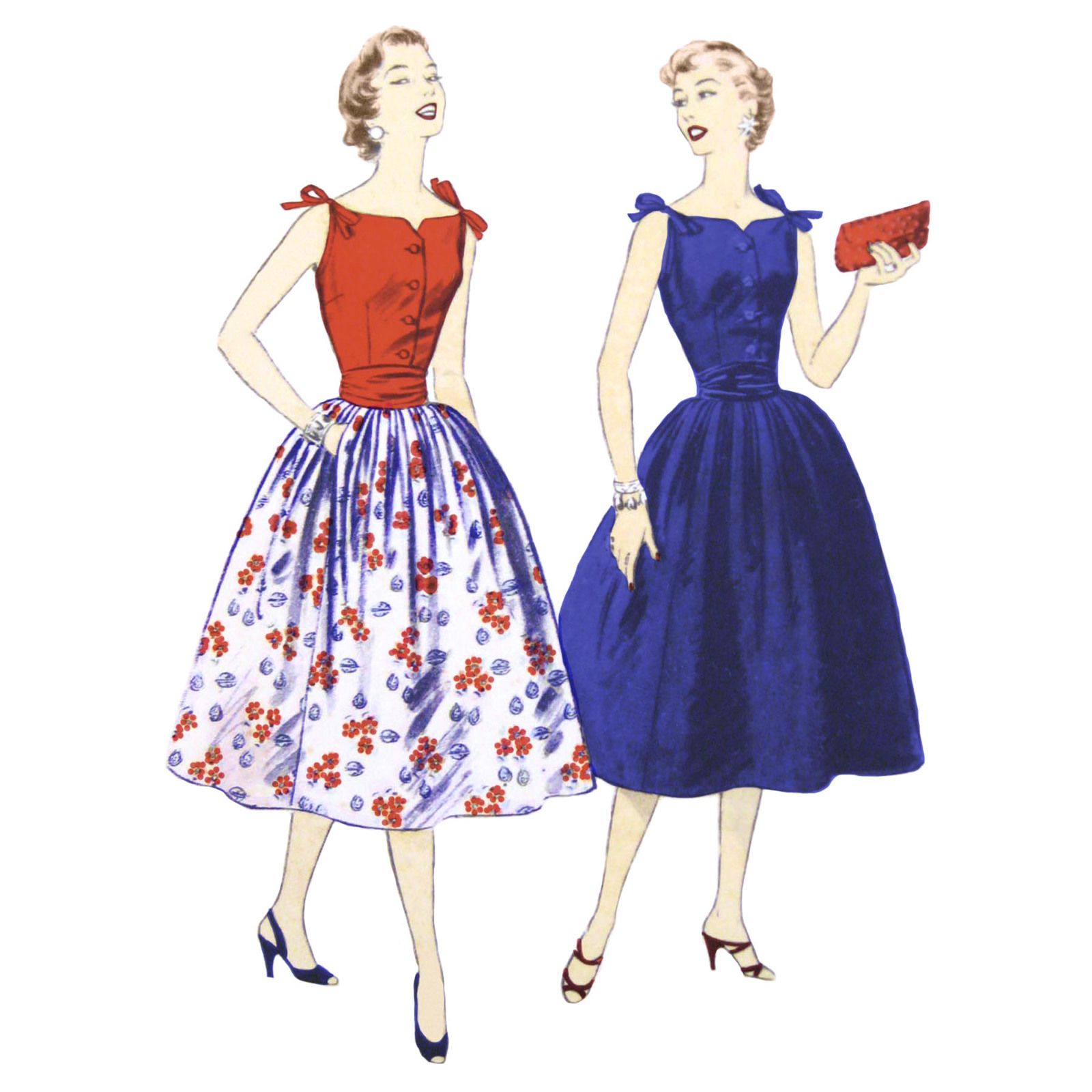 Primary image for 50s Vintage Advance Sewing Pattern 7123 Juniors Sleeveless Blouse Flared Skirt 9