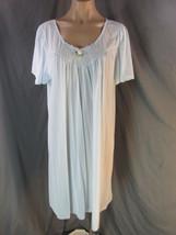 Vanity Fair Light Blue Nylon Nightgown Nightie sz L Rose Trim Made in USA - $24.99