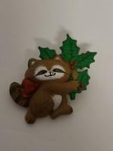 "Vintage 1986 Hallmark Christmas RACCOON Holiday Pin. 1.5"" x 1.5""  - $15.00"