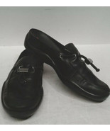 Prada womens Leather Clogs Slip On Loafers Black Sandals 35.5 Mules US 5... - $54.45