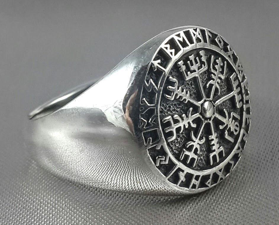 Stainless Steel Vegvisir Viking Rune Square Mens Square Biker Style Signet Ring