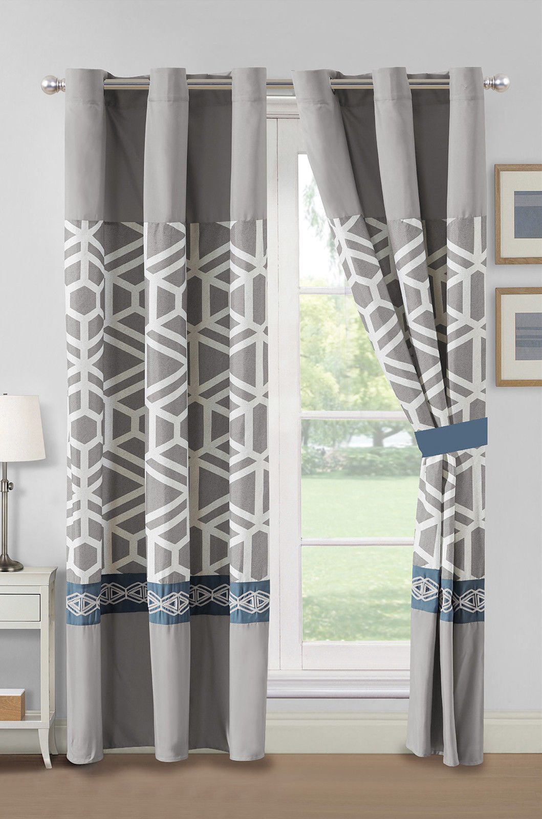 Primary image for 4-Pc Webley Geometric Octagon Lattice Curtain Set Blue Gray Grommet Sheer Liner